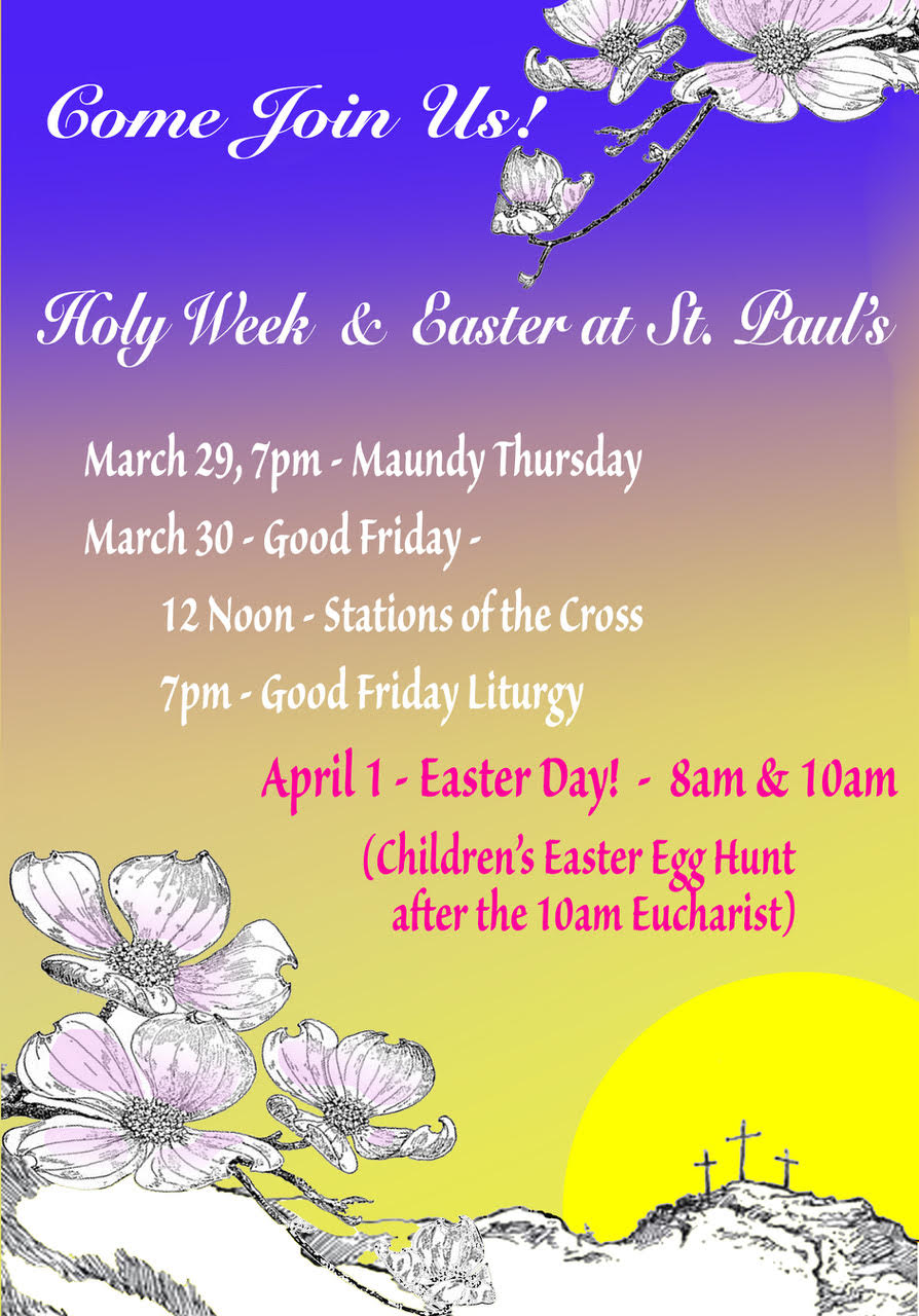 Holy week schedule st pauls episcopal church posted on march 27 2018 october 6 2018 by jennifer stone m4hsunfo
